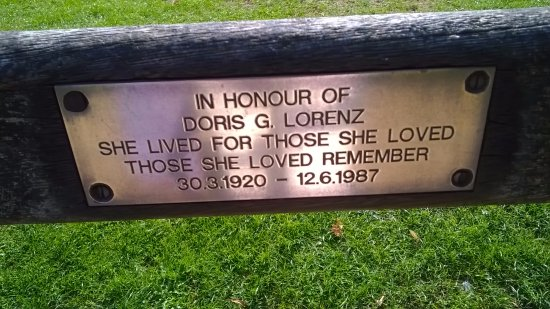 Our plaque to our mum on a bench in the beautiful Vivary Park - 30 years on