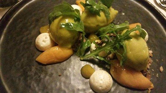 Frasdorf, Germany: dessert : ruccola-sorbet, marillen, mascarpone