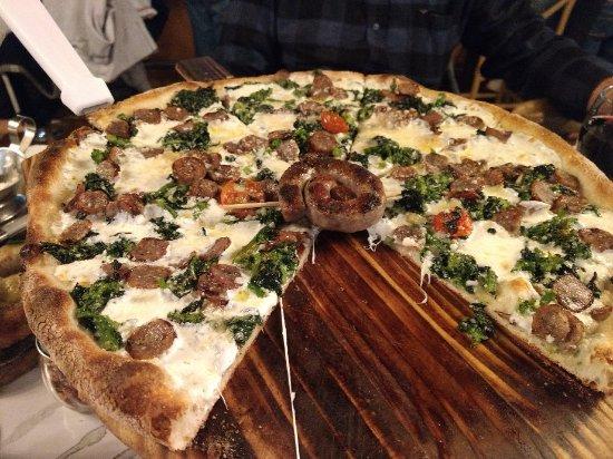 Authentic Italian Draft Beer White Clam Pie With Fresh Mozzarella - Angelinas kitchen staten island