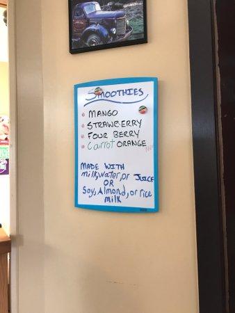 Smoothie menu, Miracle Beach Mini Golf c,n 8667 Island Hwy, Black Creek, British Columbia
