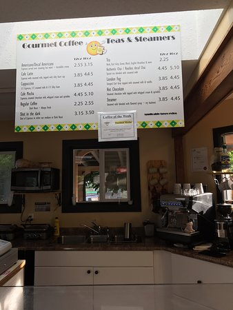 Gourmet coffee options, Miracle Beach Mini Golf c,n 8667 Island Hwy, Black Creek, British Columb
