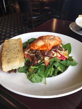 Wonderful spinach salad with louisiana chicken, Blackfin Pub, 132 Port Augusta St, Comox, BC