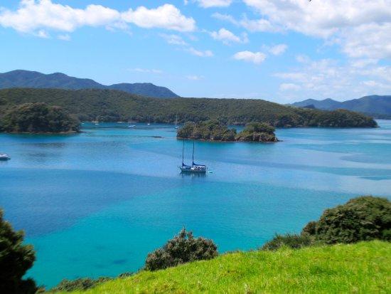 Paihia, Nueva Zelanda: Our yacht anchored at Urupukapuka Island