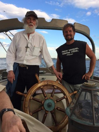 Chatham, MA: Dad and I at the helm!