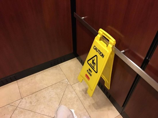 Courtyard by Marriott St. Augustine I-95: This sign was in the elevator exactly like this for both days of my stay