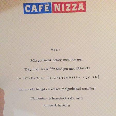 Cafe Nizza Stockholm Menu
