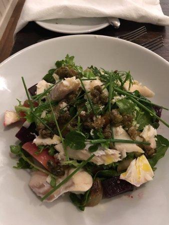 West Bexington, UK: smoked haddock salad