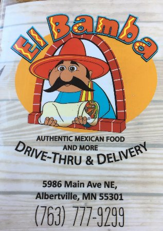Albertville, MN: El Bamba Take Out Menu (Ketan Deshpande MN)