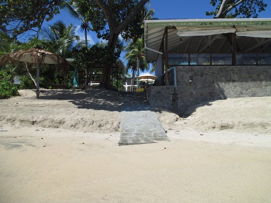 Friendship, Bequia: View of the restaurant from the beach