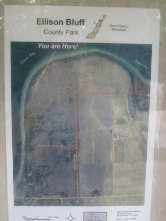 """Ellison Bay, WI: map of the Ellison Bluff (""""here"""" is the viewpoint from bluff)"""