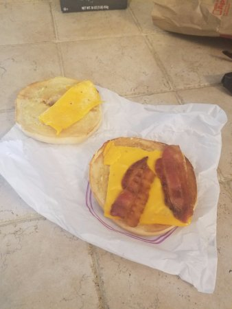 La Plata, MD: Ordered a steak, egg and cheese bagel and received this sad little piece of work.