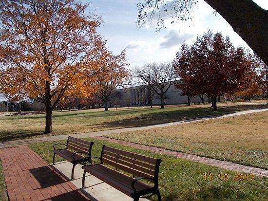 Abilene, KS: Grounds with Library in back