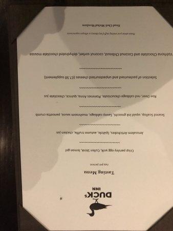 Aberlady, UK: The menu