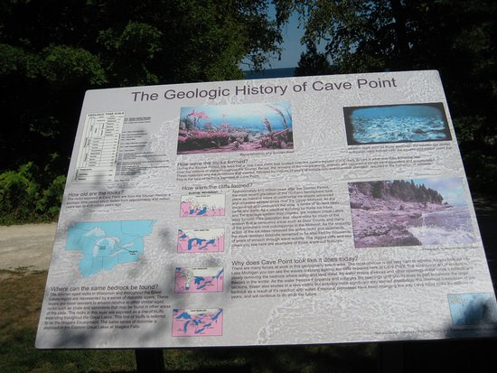 Sturgeon Bay, WI: Sign (Geological History of Cave Point)
