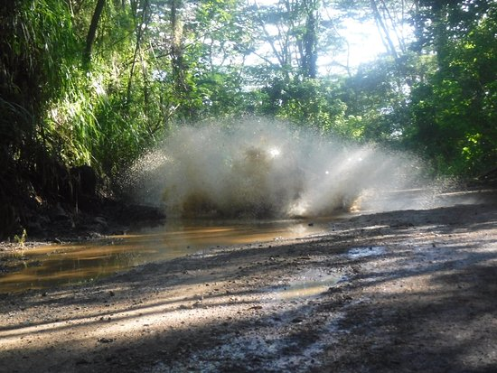 Koloa, Hawái: meeting of our atv and a big puddle