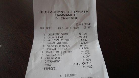 Note pour 4 pers 6 euros par personne avec boissons photo de restaurant ettahrir hammamet - Quantite boisson par personne ...