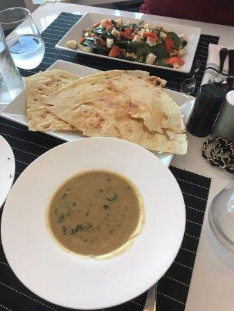 North Miami, FL: Vellutata (pureed soup), pane carasau and insalata Como (salad)