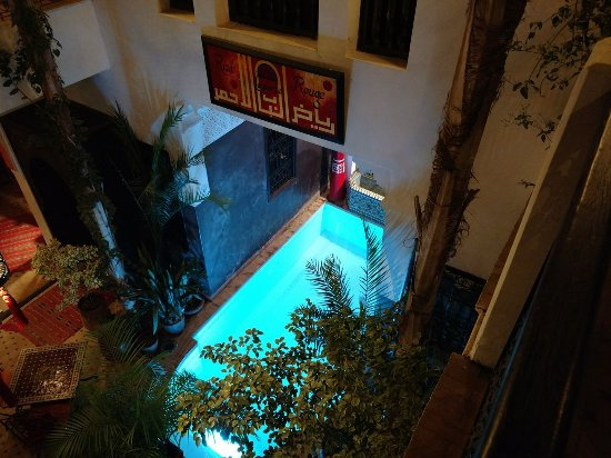 Riad La Porte Rouge: View from our balcony into the courtyard below.