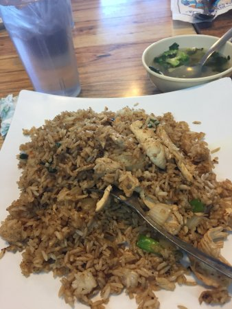 White Settlement, TX: Chicken Fried Rice without Egg. I guess you need the egg so it doesn't burn. Yeah right?