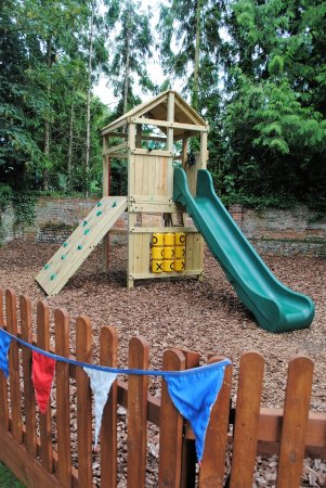 Sudbury, UK: The children's play area in the back garden.