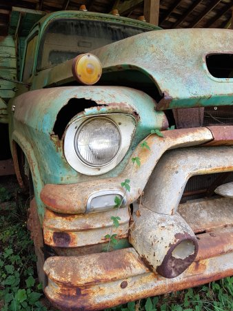 Port Alberni, Canada: Just one of the old trucks left to gently age.