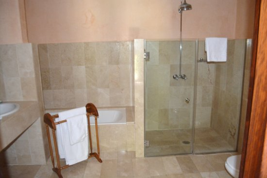 Finca Hotel Son Palou: Large shower along with tub.