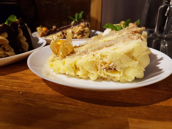 Greater London, UK: Pineapple, Banana and passion fruit cake