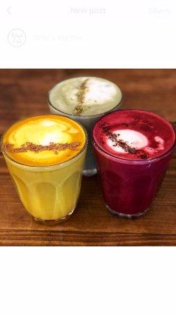 Greater London, UK: Beetroot, turmeric and matcha latte