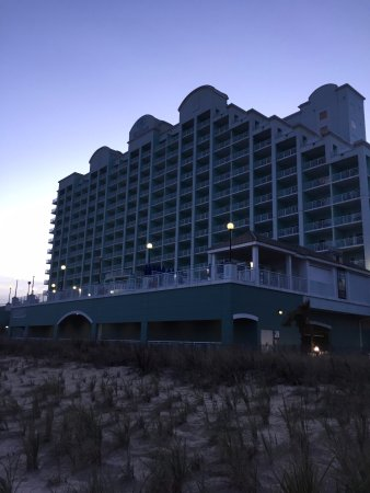 Exterior at dusk, Hilton Suites Ocean City Oceanfront  3200 North Baltimore Ave., Ocean City