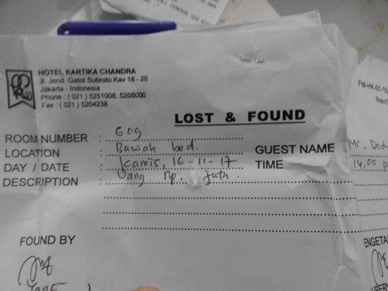 Kartika Chandra Hotel: Ini adalah bukti penemuan uang saya yang tertinggal dan saya dapatkan kembali dg jumlah tetap