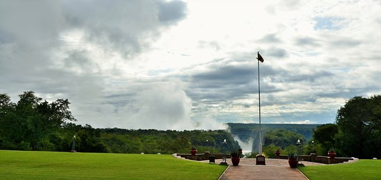 The Victoria Falls Hotel: View from the Stanley Terrace of the Flagpole, Gorge and Bridge