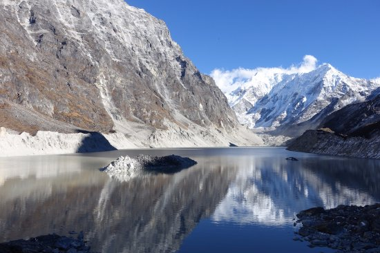 Charikot, Nepal: The Tso-Rolpa Glacier lake which is supposed to be a danger zone..