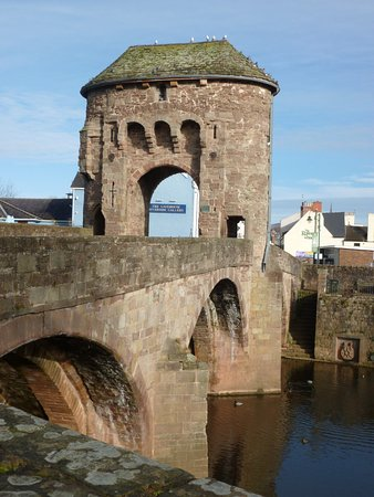 Monmouth, UK: building on the bridge over the river