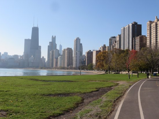 Lincoln Park: City Skyline from Lakeside path 1