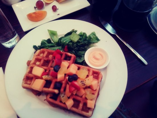 Ambler, PA: Waffles with fresh fruit and tender greens