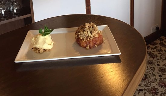 Grey Harlings Restaurant: Daily Special - Apple & Plum Crumble With Clotted Cream Ice Cream