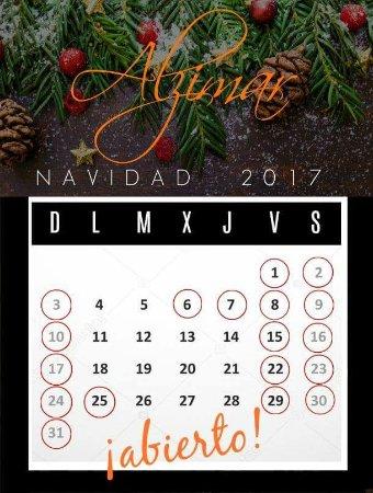 Tabernes de Valldigna, Spain: Calendario apertura Diciembre 2017