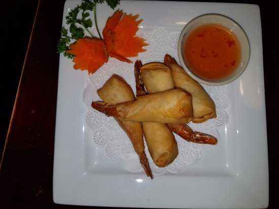Parma, OH: Shrimp in a Blanket, Whole shrimp wrapped in spring roll skin served with sweet dipping sauce.