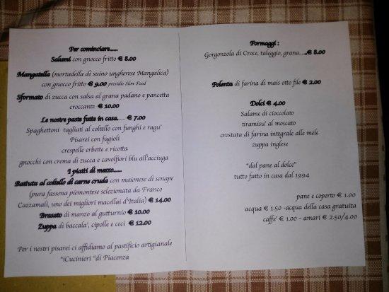 Belgioioso, Italia: Il menu'