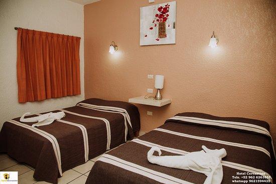 hotel cervantino: habitaciones doble 2 camas, aire acondicionado y/o ventilador