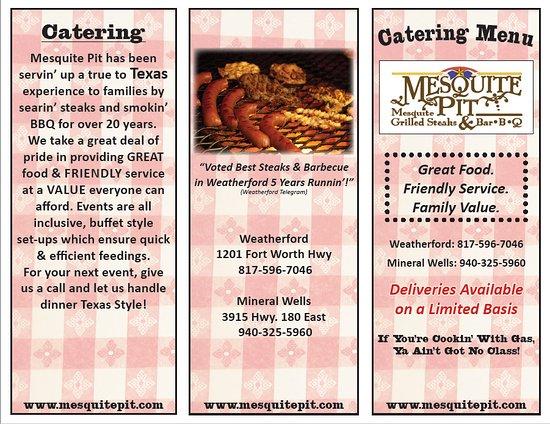 Weatherford, Τέξας: Catering Menu Front