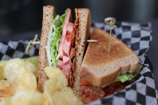 Woodbridge, VA: A classic BLT, served with kettle chips and a pickel spear.