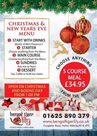 Nether Alderley, UK: Christmas & New Years Eve Menu