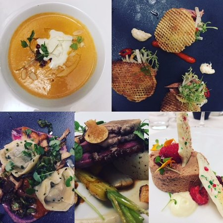 Vineland, Canada: Clockwise from 1100: Lobster bisque, smoked trout, beef short rib tortellini, duck, chocolate mo