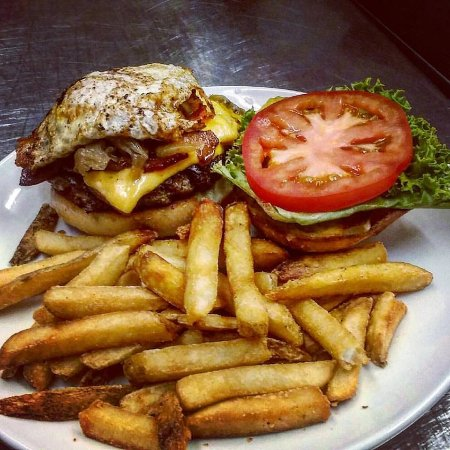 Onalaska, WI: Burger with Fried Egg and Caramelized Onions