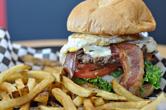 Moorhead, MN: Amped up Morning Glory Burger with an extra patty and bacon!