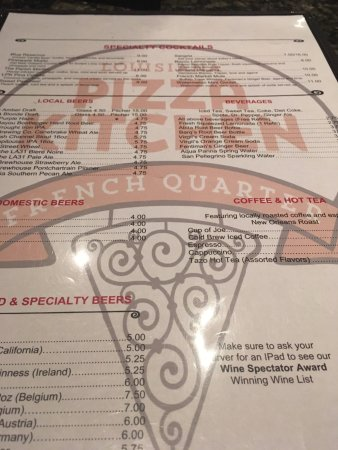 menu picture of louisiana pizza kitchen french quarter new