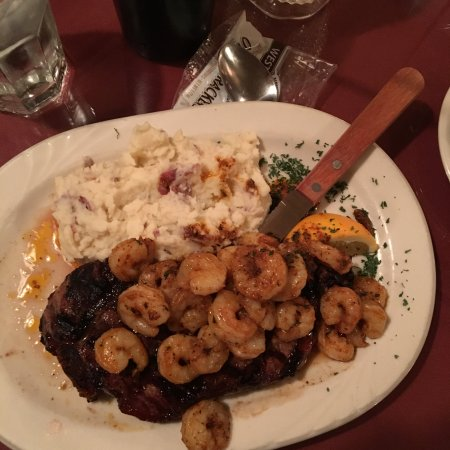 Bath, ME: Steak and cajun shrimp with mashed potatoes