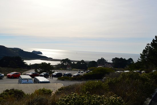 Sausalito, Kalifornien: The view of nearby Rodeo Beach from the center