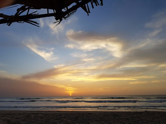 Gunjur, Gambia: Sunset on the beach on our last night